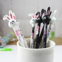 48 Pcs Lot Korean Cartoon Black And White Long Ear Rabbit Neutral Pen 0 38mm Black