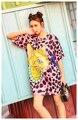 Melinda Estilo 2017 de las nuevas mujeres camiseta del verano patrón de impresión de manga corta loose top envío gratis