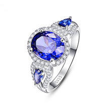 Huitan Luxury Retro Ring For Women Charming Vintage Wedding With Blue CZ Stone Prong Setting Micro Paved Wholesale Hot Sale