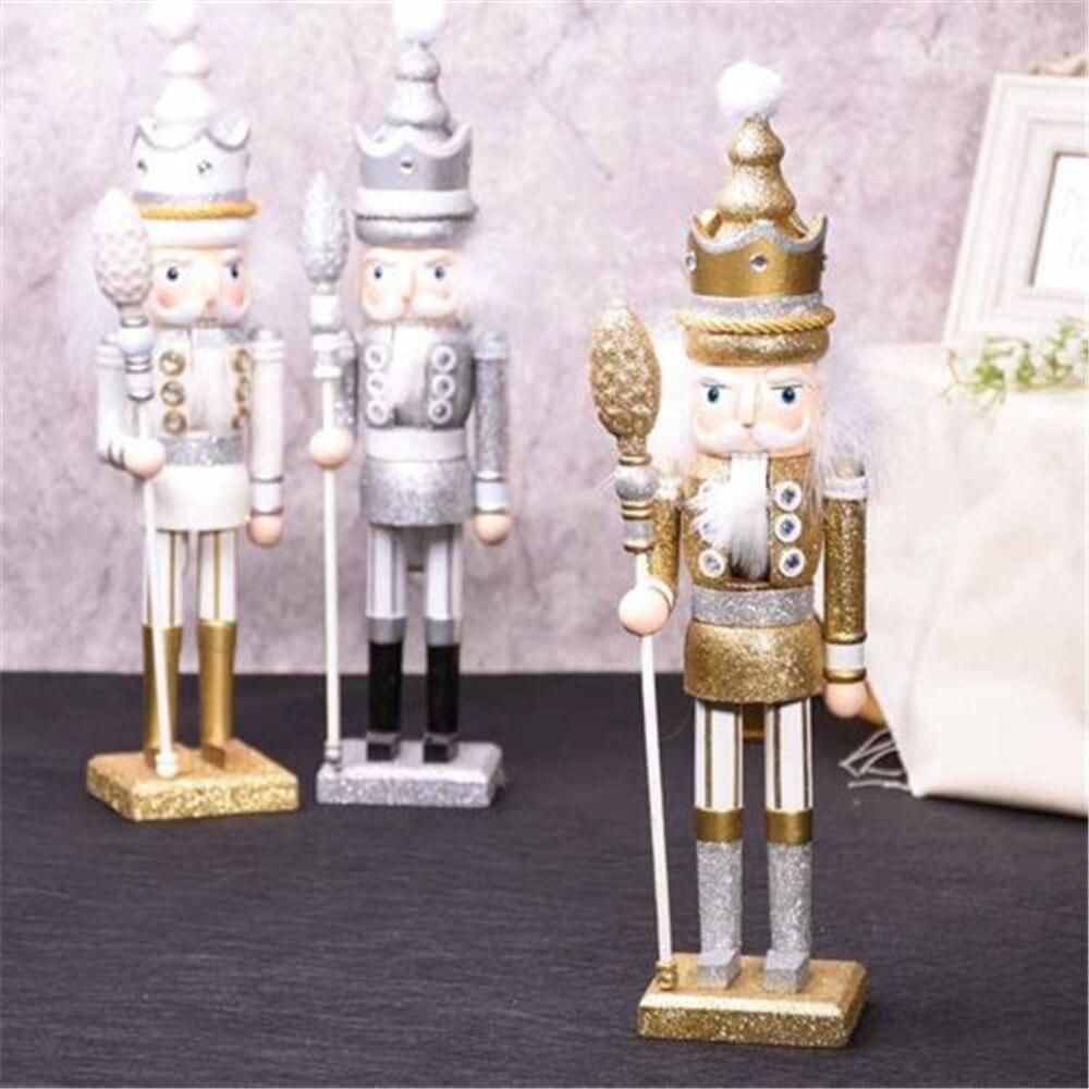 42 cm exquis en bois casse-noisette soldat doré moelleux roi mascotte artisanat marionnette brillant casse-noisette artisanat décoration de noël