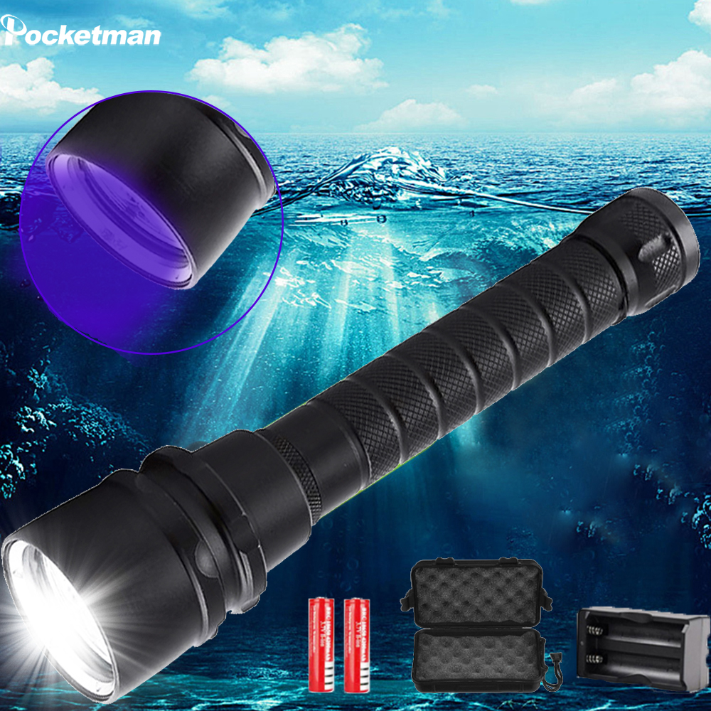 40000LM diving flahslight 5L2 5UV Flash Light 200M Underwater Purple White Light Tactical led Flashlights Lantern lamp