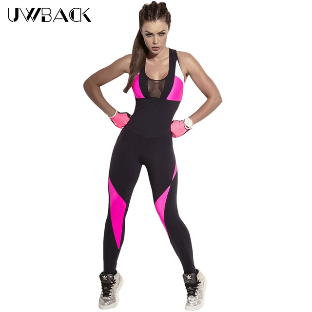 de840155ea 2018 New Brand Women Jumpsuits Fitness Patchwork Black Summer Yuga Leggings  Net Halter Sexy Playsuits Overalls Bodysuit