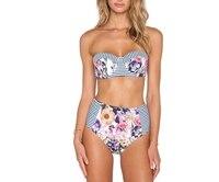 2017 New Floral Print High Waist Bikini Set Swimsuit Push Up Bikini Bandeau Striped Swimwear Women