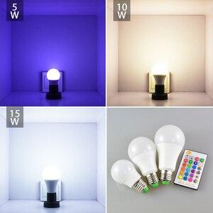 Image 3 - RGB LED Bulb E27 B22 Dimmable 16 Color Changing Magic Light Bulb 5W 10W 15W AC 110V 220V RGB + White IR Remote Smart Lampada