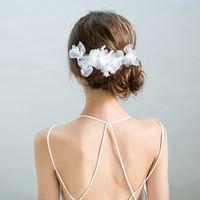 Handmade White Yarn Flower Barrettes Hair Clips Trendy Bridal Wedding Hairgrips Ornament Headdress Girls Party Headpiece