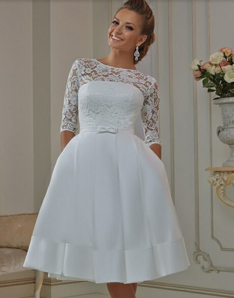 short plus size wedding dresses with sleeves | Wedding
