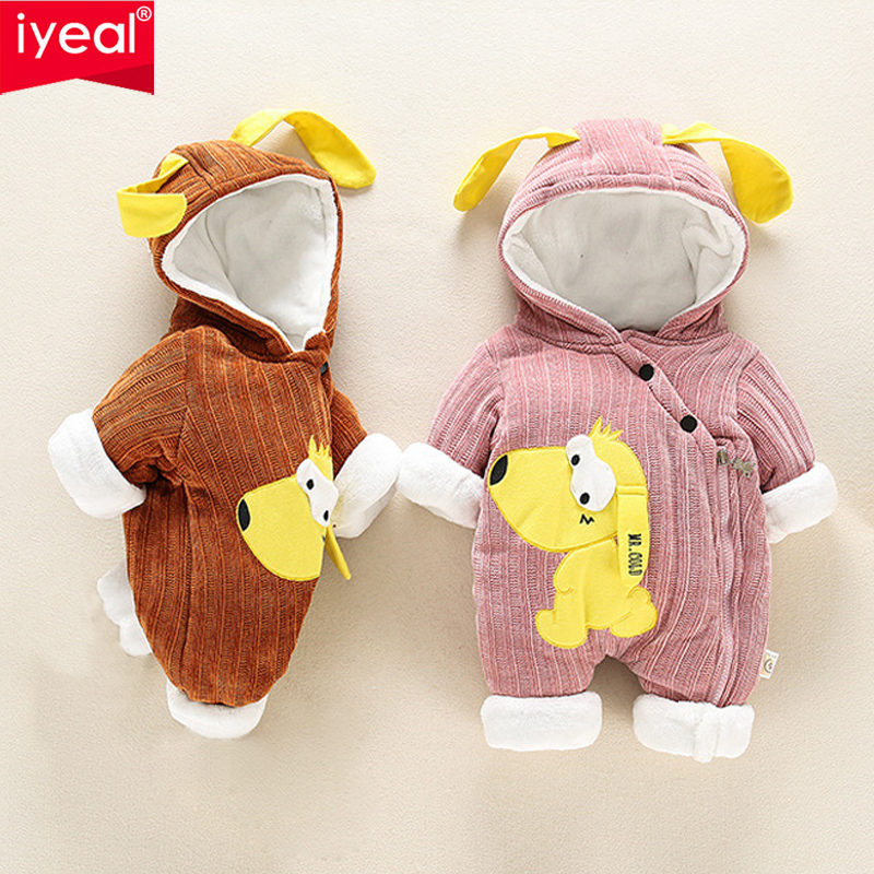 IYEAL Super Warm Baby Clothes New Winter Hooded Boy Girls Rompers Thick Cotton Outfit Newborn Jumpsuit For Children Baby Costume baby boy super mario cartoon print rompers winter thick infant character costume girls warm clothes baby bebe jumpsuit outerwear