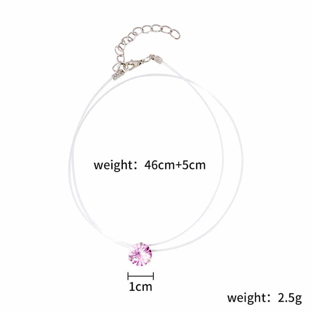Women Necklace Invisible Rhinestones Transparent Fishing Line Chain Pendant Necklaces Jewelry Accessories Necklace Fine  Choker