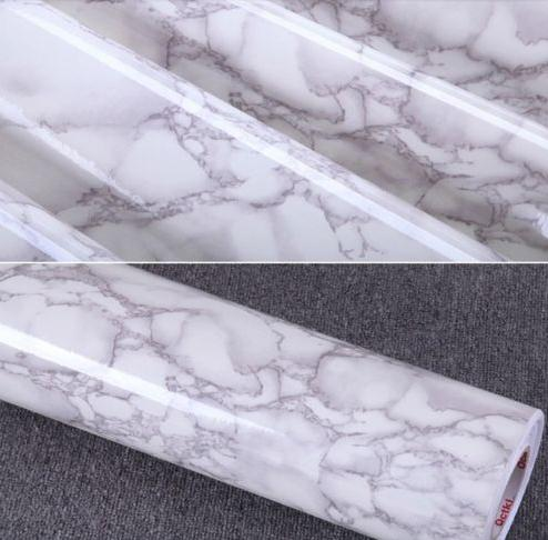 Gray Marble Waterproof Vinyl Self adhesive Wallpaper Sticker Modern Contact Paper Kitchen Countertop Shelf Drawer Liner