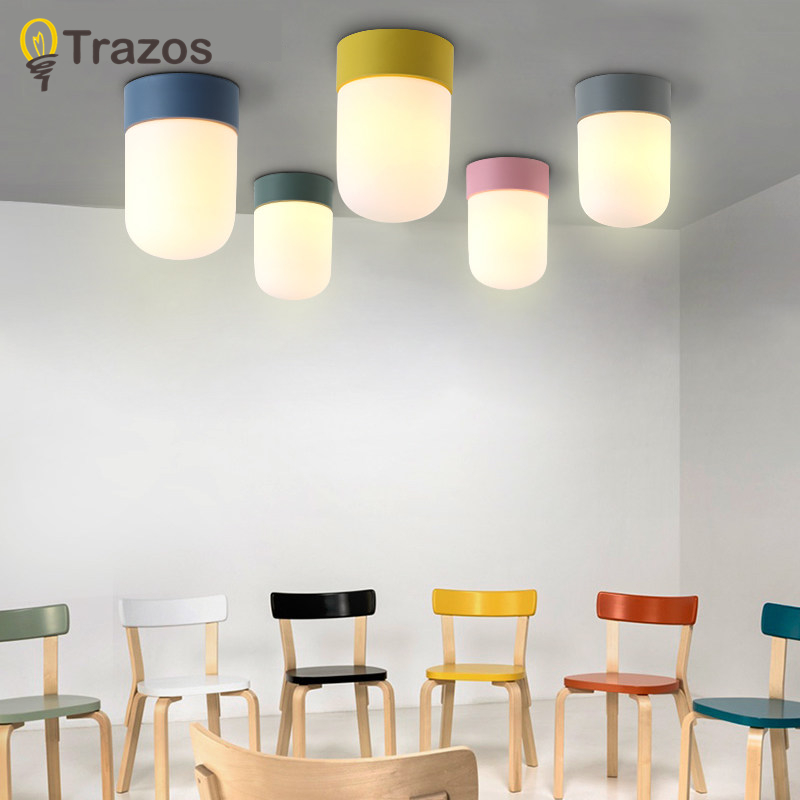 Trazos LED Ceiling Lights For Bedroom Colors Kids Room Ceiling Lamps Iron Lampshades Kitchen Lighting Fixtures Indoor Deco hghomeart kids led pendant lights basketball academy lights cartoon children s room bedroom lamps lighting