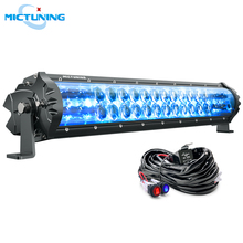 MICTUNING High Power Dual Row M1s 19 Straight LED Work Light Bar Off Road Driving Lighting w/ Atmosphere Lamp & Wiring Harness