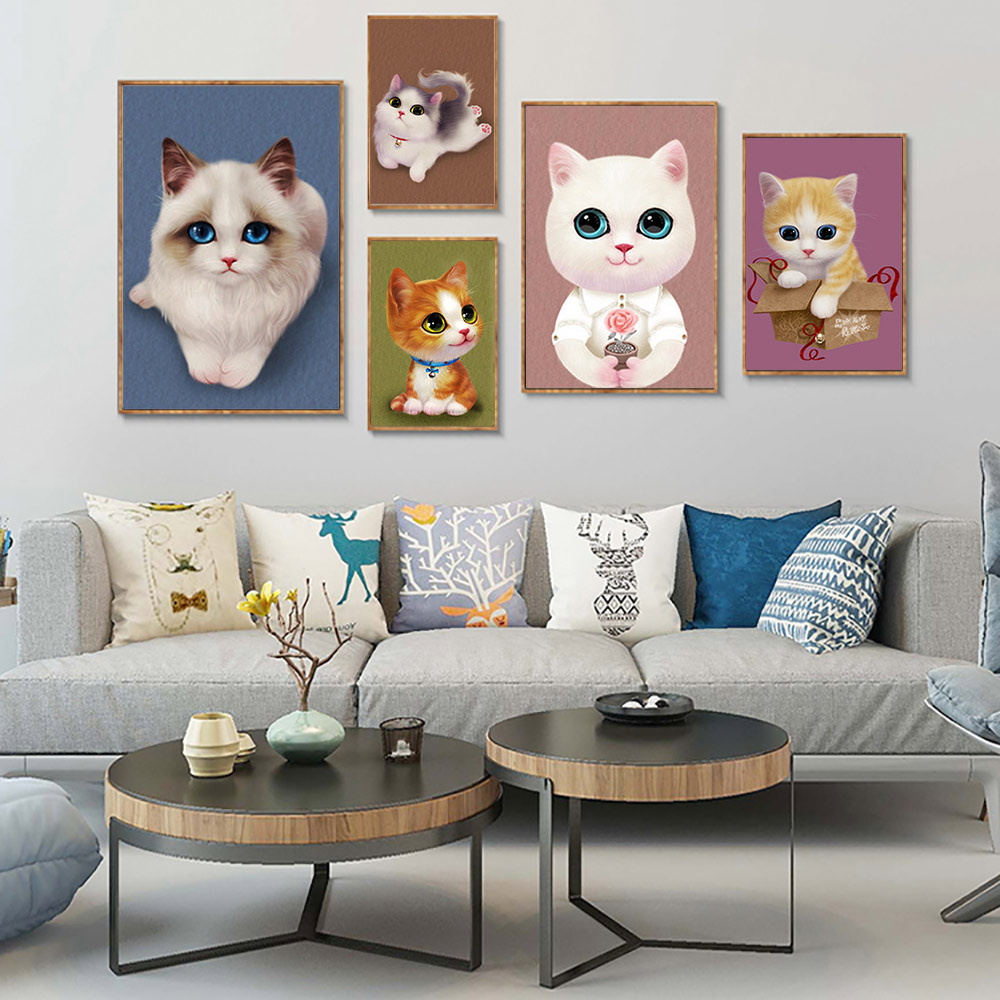 Cartoon animal Little cat Diamond Painting Full Round Cartoon animal Little cat Diamond Painting Full Round Home Decoration in Diamond Painting Cross Stitch from Home Garden