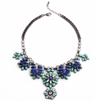 New Design Luxury Vintage Blue Crystal Flower Chunky Statement Collar Popular Necklace Fashion Charm Jewelry For