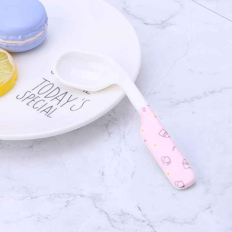 Cuchara de bebé entrenamiento de alimentación niños Infante niño cuchara cubertería vajilla comida curva cabeza utensilios niños aprendizaje Supplie