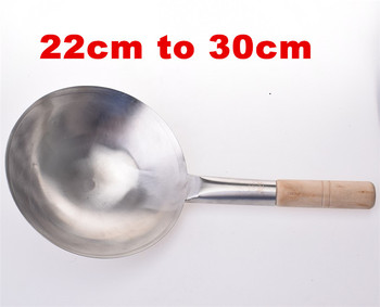 Wooden Handle Pure Iron Pan Stainless Steel No Coating Non-stick Wok Hand Forging Iron Pan Chinese Style Iron Pot Gas Cooker