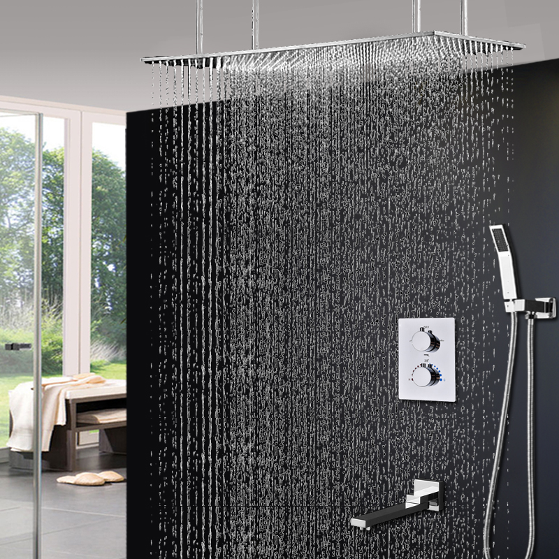 Bathroom Shower Luxury Bath System Large Rain Ceiling Douche Thermostatic 3 Ways Shower Mixer Set Size 400x800 mm