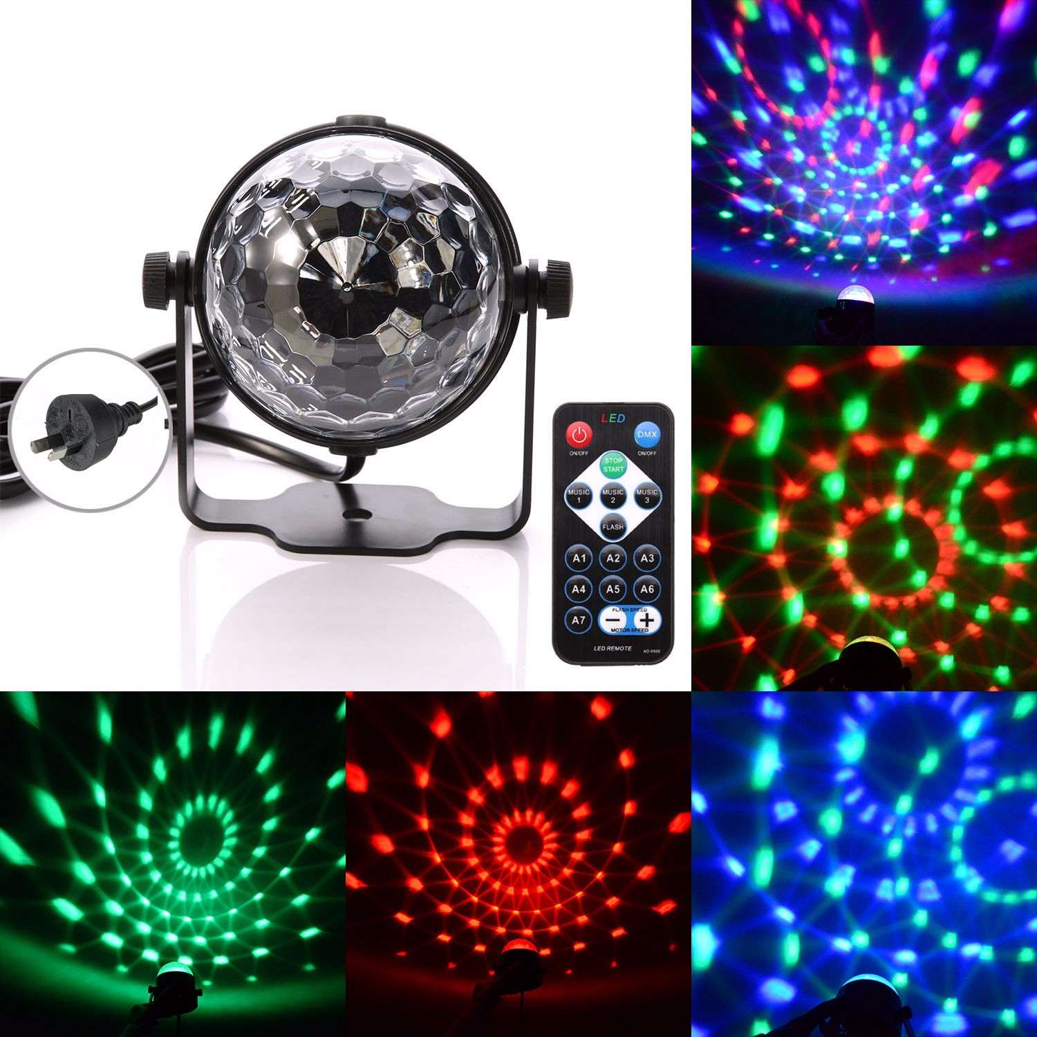 RGB LED Stage Light LED Stage Lighting Effect Lamp Lights DJ Disco Party Crystal Magic Ball Multi Patterns Light With IR Remote 4pcs lot 30w led gobo moving head light led spot light ktv disco dj lighting dmx512 stage effect lights 30w led patterns lamp