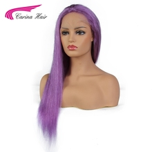 Carina Hair Malaysian Remy Human Hair Pure Purple Color Full Lace Wig Straight Hair with Baby Hair Glueless Wigs Pre-plucked