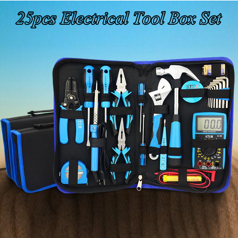 25pcs Multi-function Hardware Kit Hand Tools Household Tools Set With 382 Multimeter Electrician Tool Kit Set