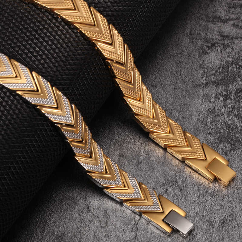 Vinterly Magnetic Bracelets For Women Men Gold-color Stainless Steel Health Energy Germanium Chain Link Bracelets & Bangles Mens