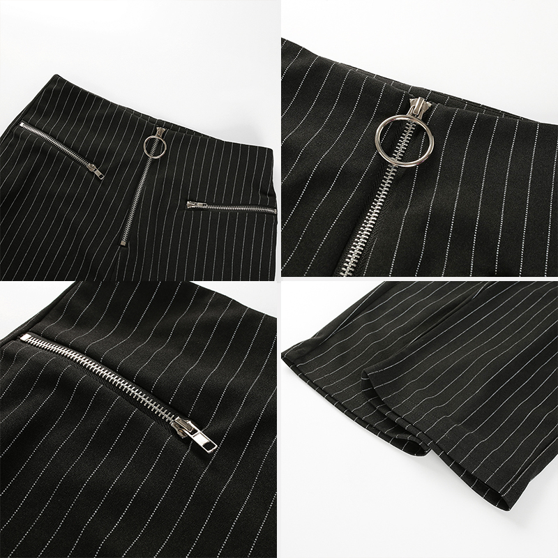 Muximux 2018 Autumn Women Pants Series Striped Skinny Pants High Waist Winter Trousers Elegant Straight OL Style Workwear Pants