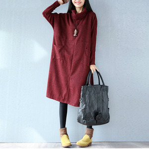 Image 5 - Women Autumn Winter Dress Solid Casual Fashion Turtleneck Cashmere Loose Lady Big Size Female Long Sleeve Plus Size New Dresses