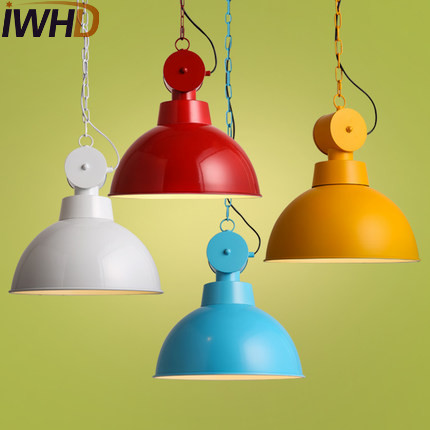 IWHD Simple Loft Style Iron Droplight Industrial Vintage Pendant Lamp Fixtures For Dining Room LED Hanging Light Home Lighting iwhd gold iron style loft industrial vintage pendant lights retro birdcage hanging lamp kitchen dining room luminaire suspendu