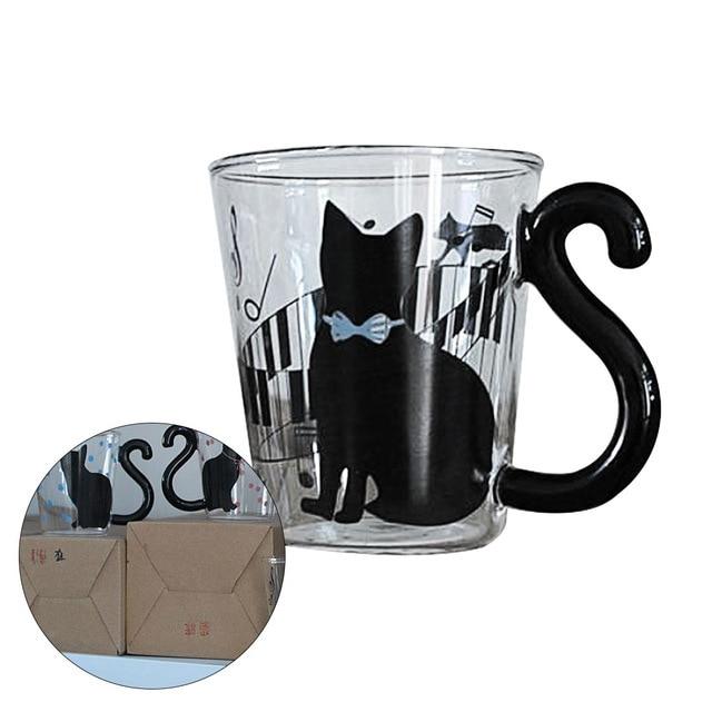 4pcs Lovely Creative Cat Glass Mug Tea Milk Cup Coffee Borosilicate Glass