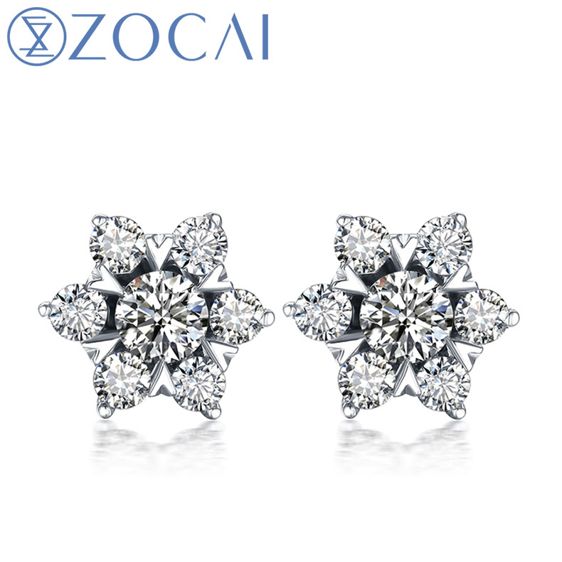 Zocai Super Star Natural 0 4 Ct Certified Diamond Stud Earrings Real 18k Gold Au750 E00096 In From Jewelry Accessories On Aliexpress