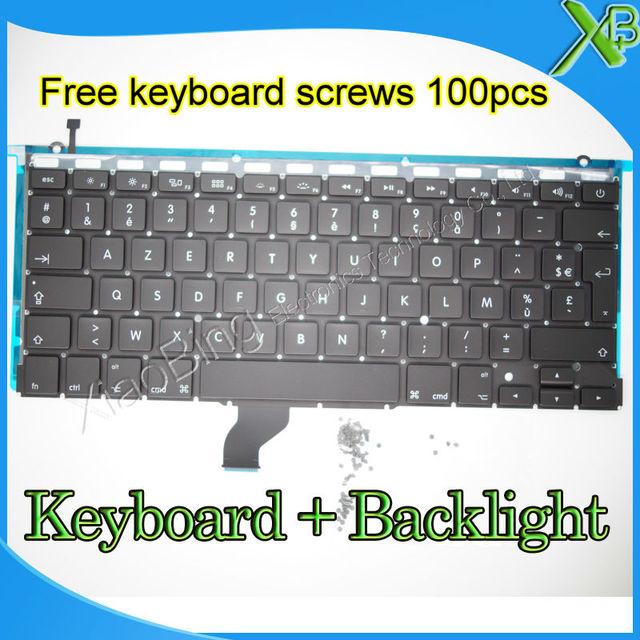 c5de3ef6026 Brand New AZERTY FR French keyboard+Backlight Backlit+100pcs keyboard  screws For MacBook Pro