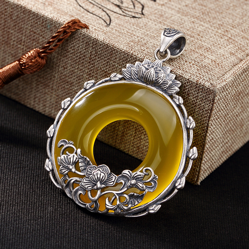 2018 Real Carnelian Slide Sterling Pith Safety Buckle Peony Flower Long Fashion Top Chain Sweater Female Pendant Wholesale
