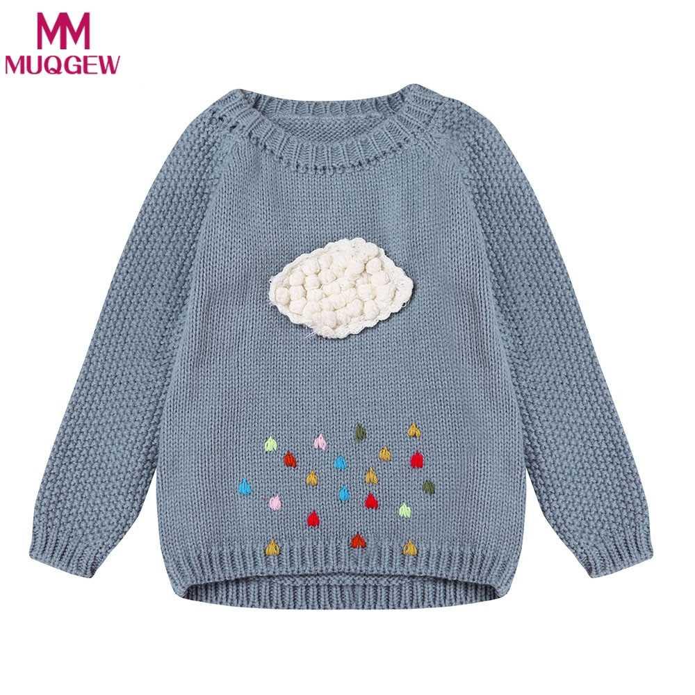 Свитер для девочек; вязаная одежда для малышей; коллекция 2018 года; Зимний Детский свитер для девочек; пуловер с рисунком облака; верхняя одежда; детская трикотажная одежда; От 2 до 8 лет