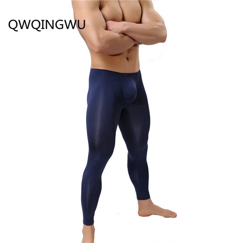 Sexy Long John Mens Ice Silk Thermal Underwear Pants Ultra-Thin Warm Elastic Tights Leggings Sleepwear Pajamas