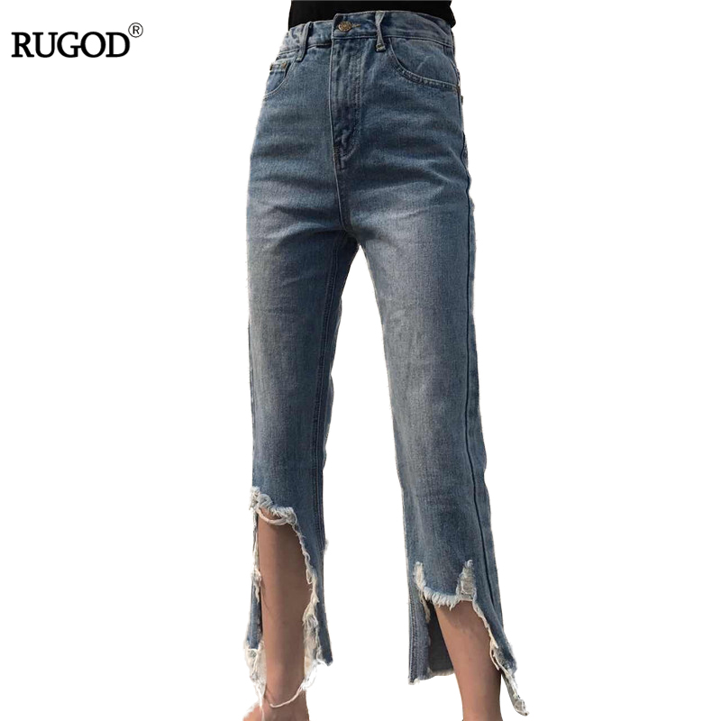 Spring Summer New Denim Pants Jeans Women Vintage Ankle-Length Jeans High Waist Lady Ripped Hole Fashion Trousers Plus Size loose ankle length jeans for women 2017 new vintage distressed high waist ripped denim harem pants woman trousers plus size