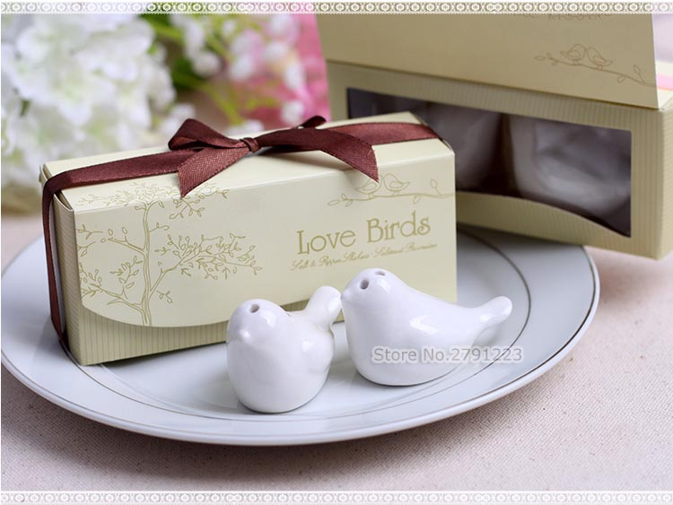 special promotion wedding gifts 40pcslot20boxes love birds ceramic salt and pepper