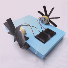Powered Boat Rowing Assembling Toys for Children Educational Toys Model Robot Puzzle DIY Solar 15*13*8cm(China)