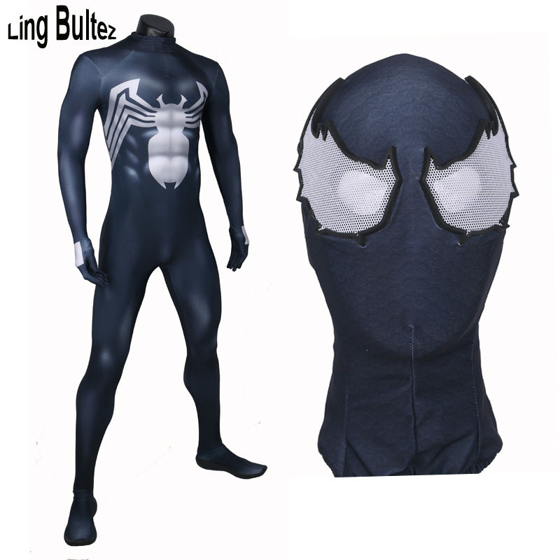 Ling Bultez High Quality New Venom Spiderman Suit Newest Spandex Spiderman Suit Comic Venom Costume With Lens