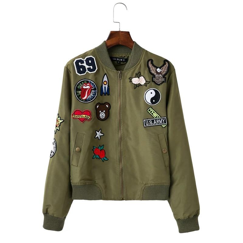 USA army flower embroidery women bomber jacket 2016 NO.69/Bear ...