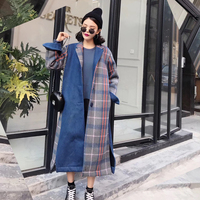 MENKAY 2018 Vintage Patchwork Winter Coat Women British Plaid Woolen Long Section Loose Woolen Coats