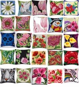 Kit de ganchillo para cojín almohadilla Flor de artesanía DIY 2CM por 2CM punto de cruz costura ganchillo cojín bordado