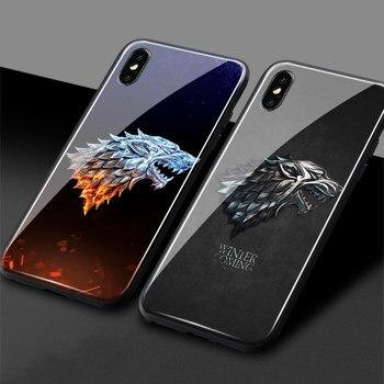 8e3e9ac0814 Funda de teléfono con logo de Game of Throne house Stark cubierta de vidrio  templado silicona suave para iPhone 5 5S Se 6 6 6 s 7 7 Plus X XR XS.