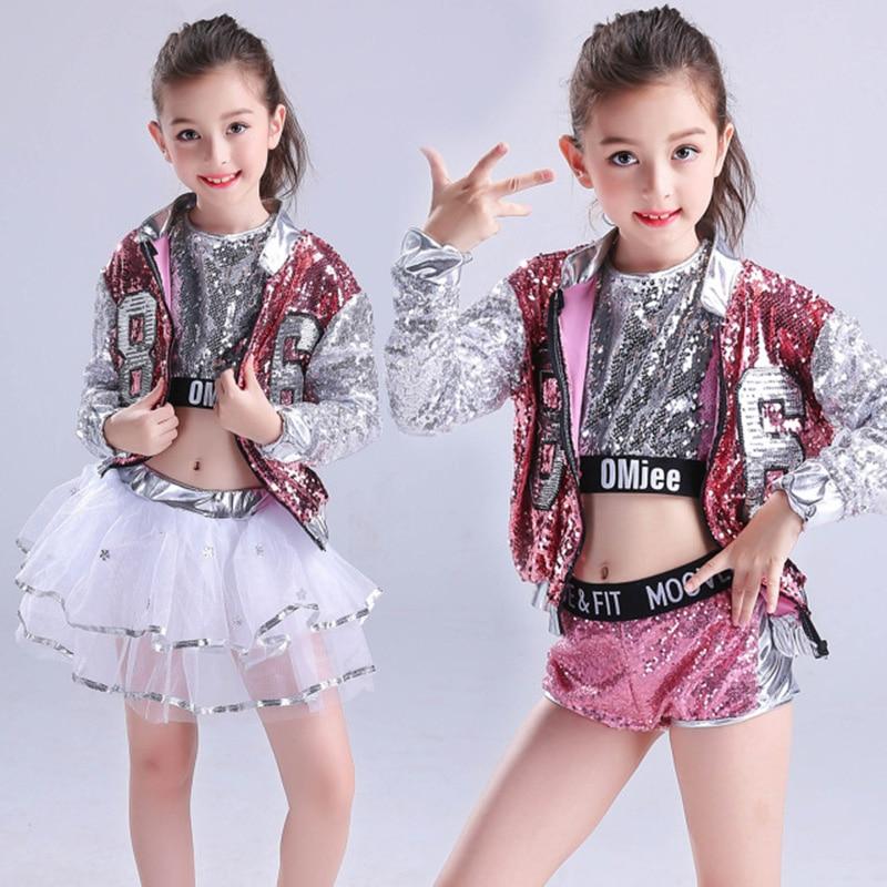 Children's Jazz Dancer Latin Dance Hip-hop Dance Performances  Sequins Modern Dance Party Costumes Three-piece Suit