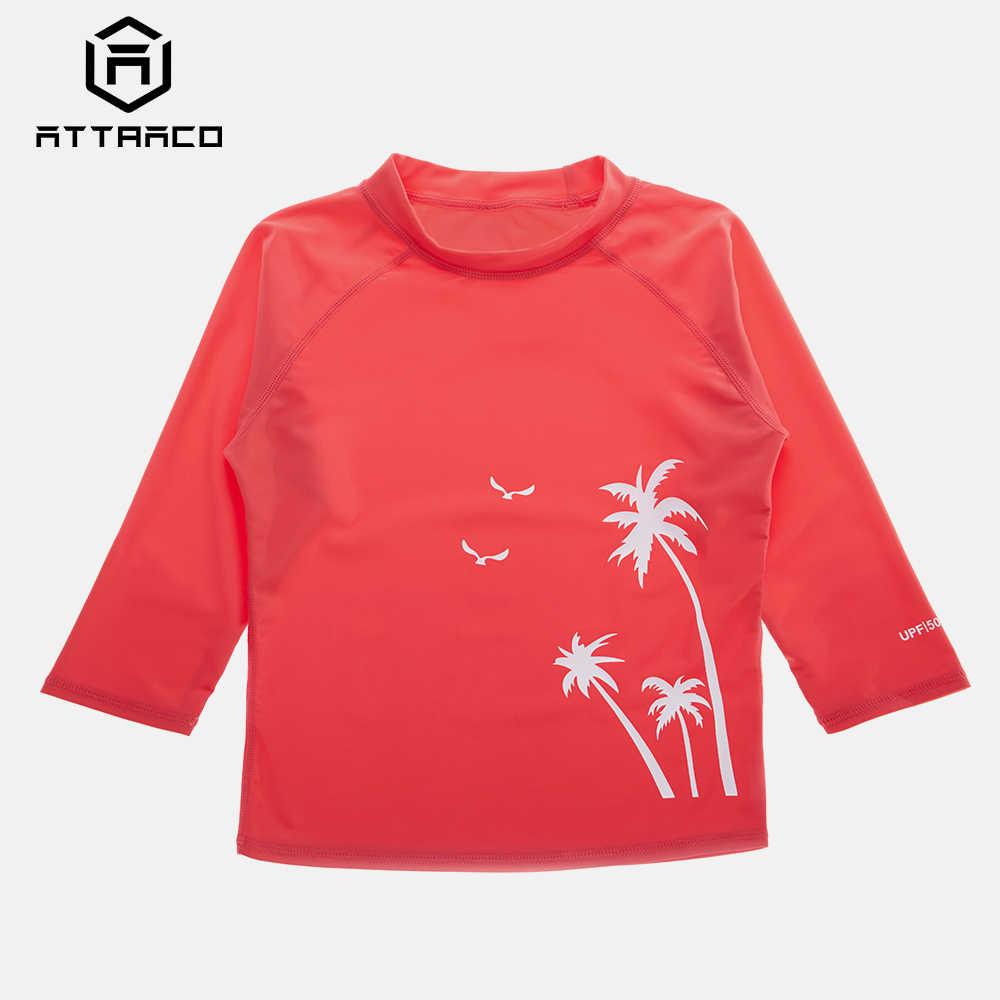 Attraco Anak Ruam Penjaga Baju Renang Anak Laki-laki Lengan Panjang Top Olahraga Baju Renang Cetak UPF 50 + K Berlaku Kolam Kemeja Pakaian