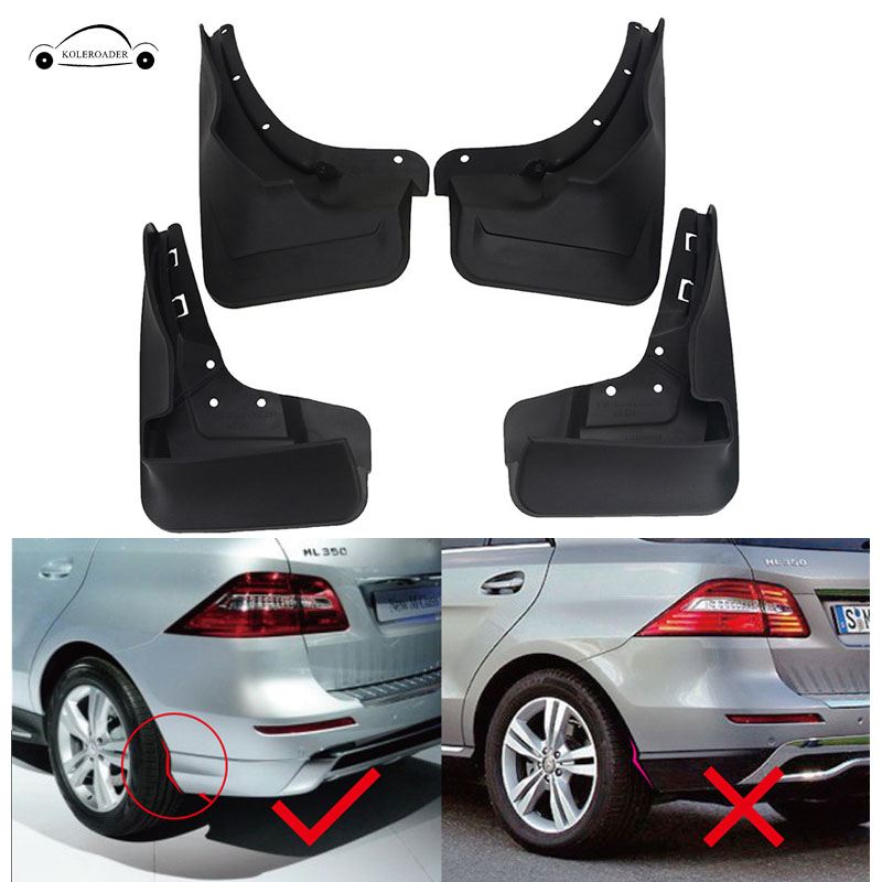 4PCS Mud Flaps for Mercedes Benz ML350 400 W166 2012-2017 Running Boards Mudflaps Splash Guards Front Rear Mud Flap Mudguards // 4pcs front rear mud splash flaps guard fender for benz v class vito metris viano w447 2015 2016 with running board