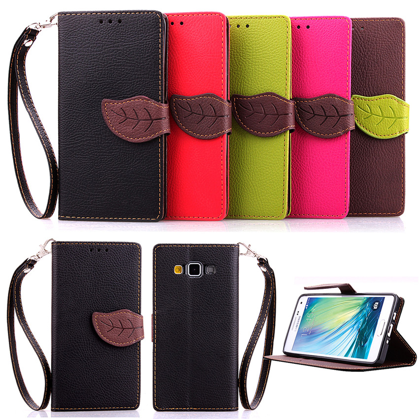 Elegant Leaf Design PU leather Wallet Case For Samsung GALAXY A5 A500 Wallet Card font b