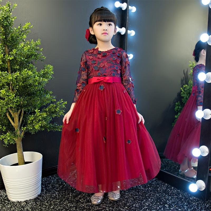 New Spring Autumn Children girls Flowers Long Princess Mesh Dress Kid Birthday Wedding Formal Party Dress Costume Pageant Dress girls lace mesh half sleeves dress for princess pageant wedding bridesmaid birthday formal party