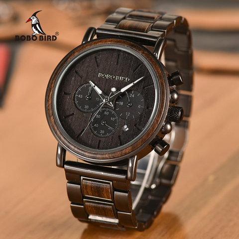 BOBO BIRD Date Display Wood Watches Luxury Stylish Watch Wood  Metal Strap New Design Timepieces C-Q26-1 Pakistan