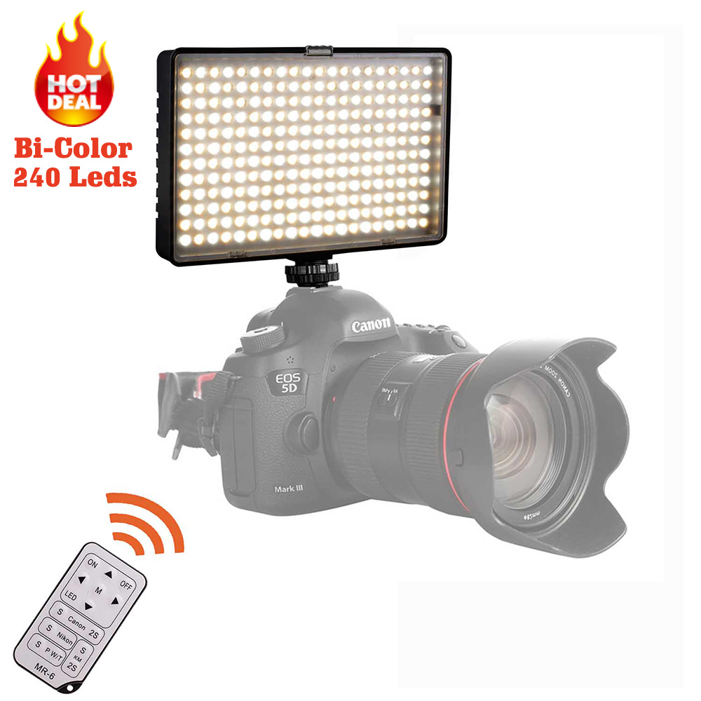Travor BiColor 240pcs LED Video Light on Camera Light for Canon Nikon Sony DV Camcorder+NP-F550 battery+Charger+remote control np f960 f970 6600mah battery for np f930 f950 f330 f550 f570 f750 f770 sony camera