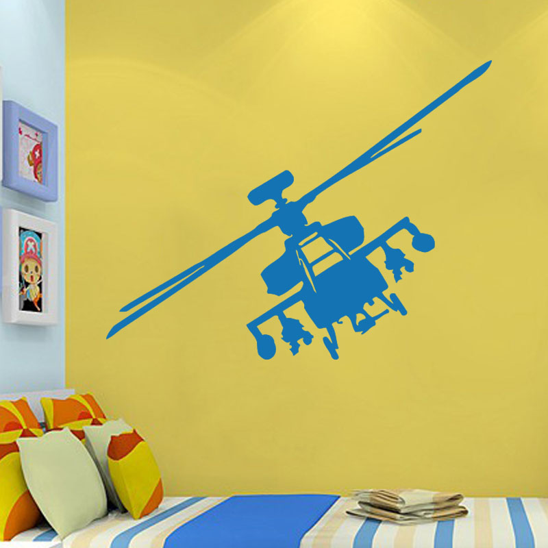 Wall Stickers Vinyl Decal Helicopter Apache Fighter Military Decor ...
