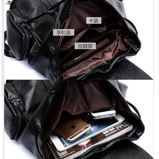 2015 Leather ladies backpack women top quality backpack fashion pu women`s black silver white backpack XA754B